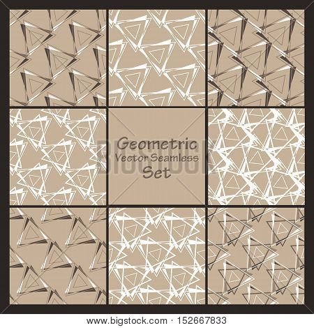 Geometric vector seamless brown decorative patterns set. Wrapping, tiling. Vector backgrounds collection. Graphic texture ornaments for design. Eps10
