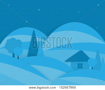 Night rural farm scenic with mountains in background. Flat styleblue vector illustration.Eps10