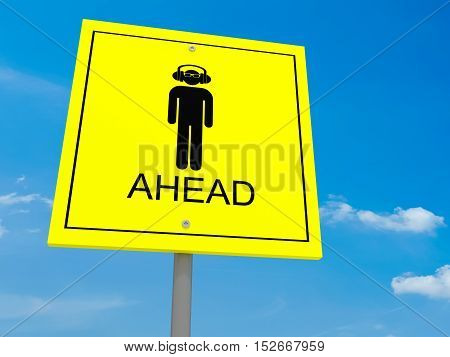 Yellow Road Sign Hipster Ahead Against A Cloudy Sky 3d illustration