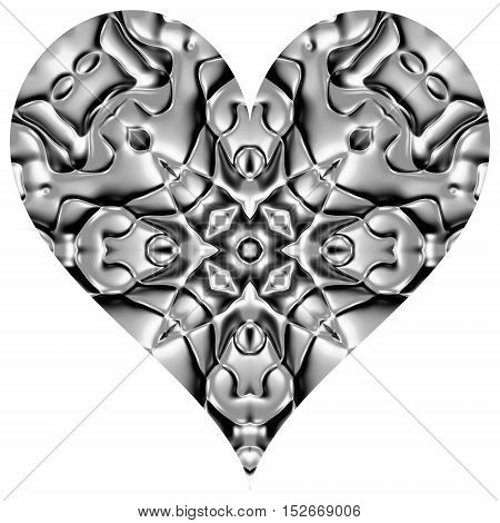 Abstract metal silver grey heart decoration image