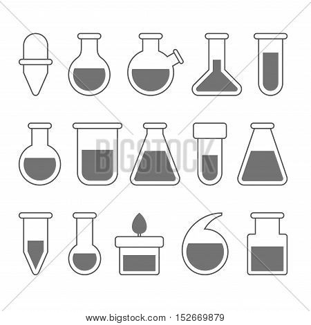 Chemical Laboratory Equipment Icons Set on White Background. Vector illustration