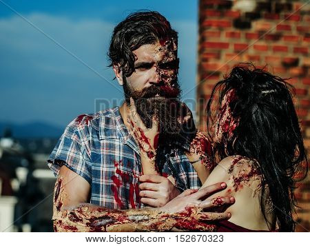 Bearded Man Zombie And Girl