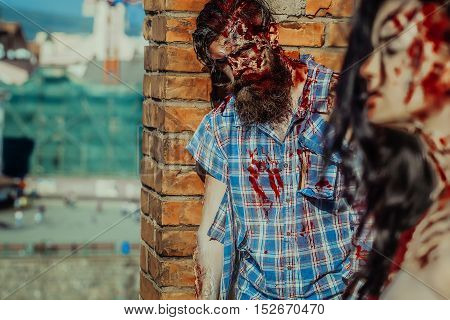 Zombie Bearded Man And Girl