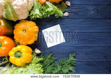 Diet Weight Loss Concept, Organic Vegetables. Copy Space.