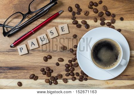 Espresso Pause concept background on wood picture