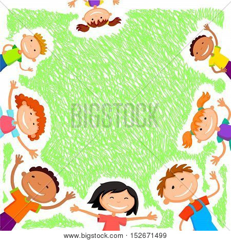 Colorful template for advertising brochure with a group of cute happy cartoon kids playing green background