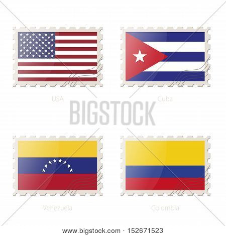 Postage Stamp With The Image Of Usa, Cuba, Venezuela, Colombia Flag.