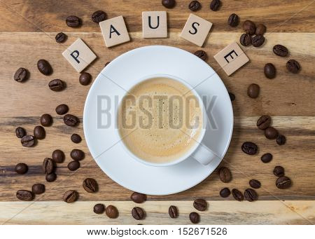 Espresso Pause With Coffee Beans Letter Concept