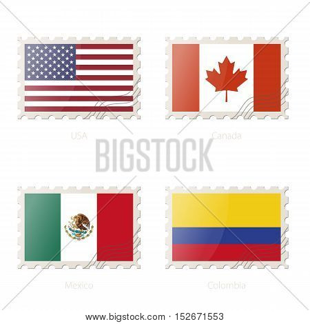 Postage Stamp With The Image Of Usa, Canada, Mexico, Colombia Flag.