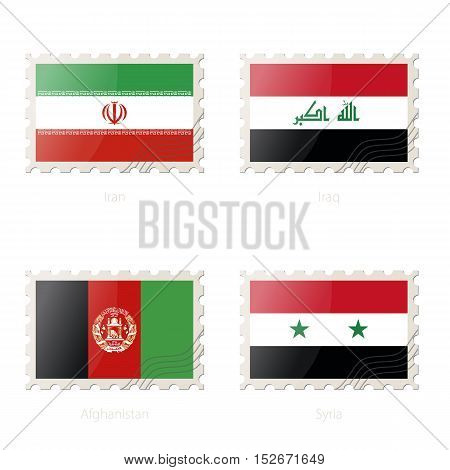 Postage Stamp With The Image Of Iran, Iraq, Afghanistan, Syria Flag.