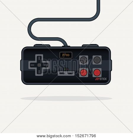 Classic and futuristic flat line style vector illustration of rectangular black glossy joystick like gamepad with analog buttons and stick with wire digital display.