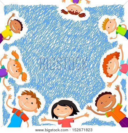 Colorful template for advertising brochure with a group of cute happy cartoon kids playing blue background