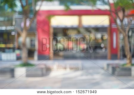 abstract background of outdoor shopping mall shallow depth