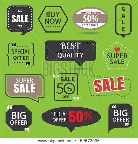 Set of commercial sale stickers elements badges and labels collection