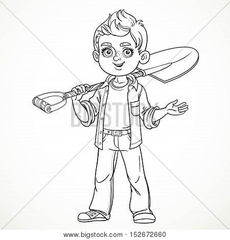 Cute boy farmer in jeans holding a shovel on his shoulder and something tells line drawing for coloring isolated on white background