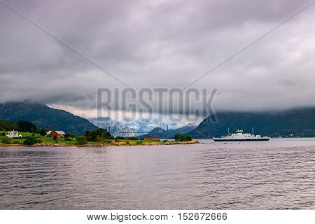 Norwegian landscape - Lysefjord Fjord at cloudy day.