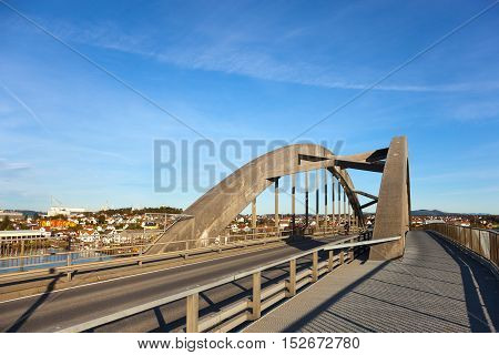 The bridge connecting islands the Grasholmen with the Solyst in Stavanger Norway.