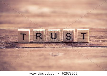 Business conceptual word trust collected of elements of wooden elements with the letters