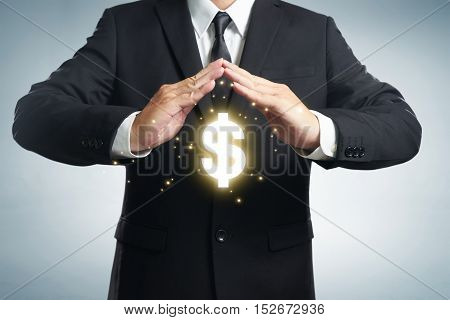 Protect company finances and tax optimization company investment represented by dollar symbol.