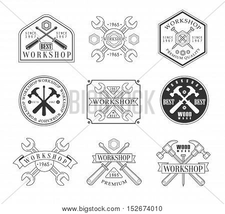 Wood Workshop Black And White Emblems. Classic Style Vector Monochrome Graphic Design Logo Set With Text On White Background
