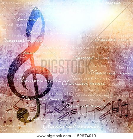 Treble clef and notes on blurred background. Classical music background