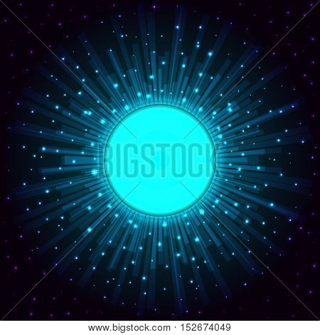 Vector abstract illustration of the portal on the background of the starry sky.EPS 10