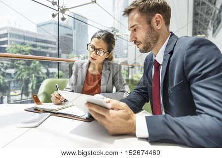 Business People Discussion Digital Tablet Technology Togetherness Concept