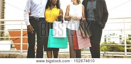 People Shopping Friends Buying Concept