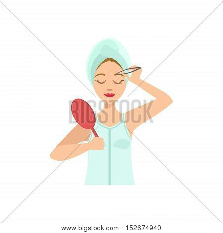 Woman Shaping Eyebrows With Tweezers Home Spa Treatment Procedure. Isolated Portrait In Simple Cute Vector Design Style On White Background