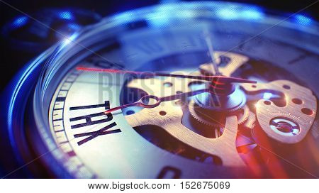 Watch Face with Tax Text on it. Business Concept with Light Leaks Effect. Tax. on Pocket Watch Face with Close View of Watch Mechanism. Time Concept. Lens Flare Effect. 3D Render.