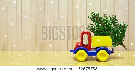 Toy Car And Christmas Tree