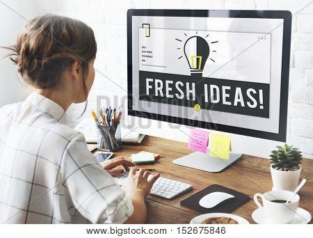Fresh Ideas Light Bulb Graphic