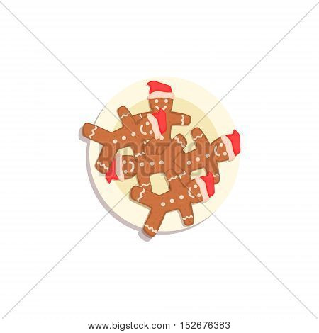 Doll Shaped Cookies Classic Christmas Symbol Colorful Illustration. Traditional Holiday Elements Bright Color Isolated Drawing On White Background.