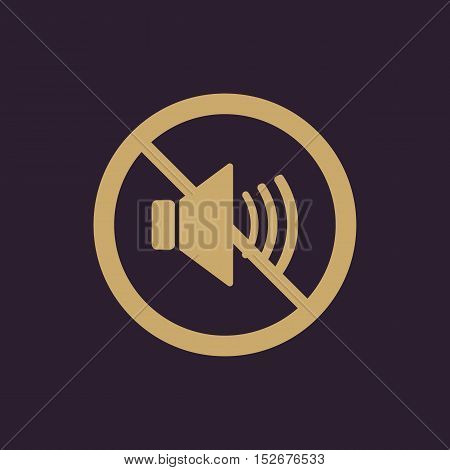 The no sound icon. Volume Off symbol. Flat Vector illustration