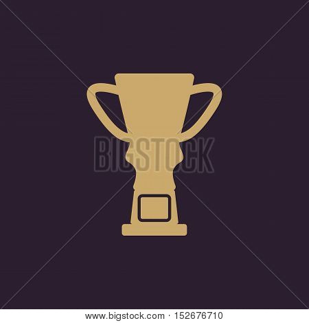 The trophy cup icon. Champion symbol. Flat Vector illustration