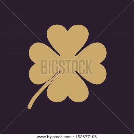 The clover with four leaves icon. Saint Patrick symbol. Flat Vector illustration