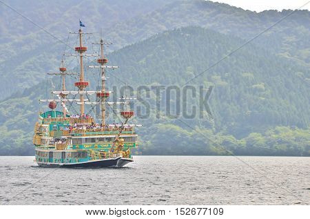 Hakone, Japan - July 26, 2013:  The Vasa, Hakone Pirate Ship is sightseeing cruise ship on Lake Ashi, Hakone, Kanagawa Prefecture, Japan. The Ship is a famous sight on Lake Ashi and a Hakone icon.
