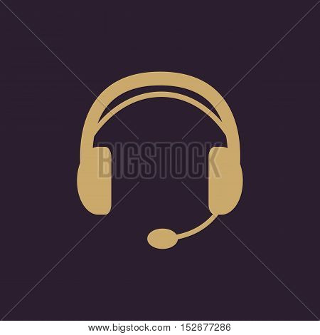 The headset icon. Support symbol. Flat Vector illustration