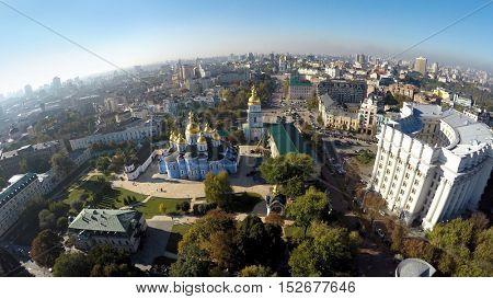 aerial view of the autumn Kiev, St. Michael's church