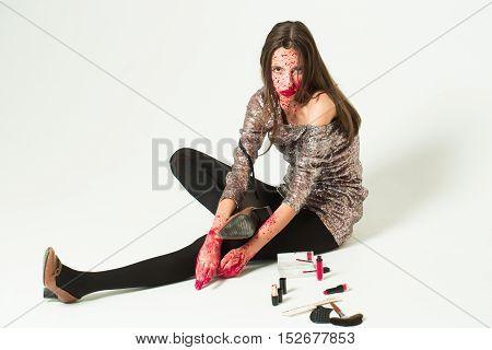 Zombie Girl Prepares For Halloween