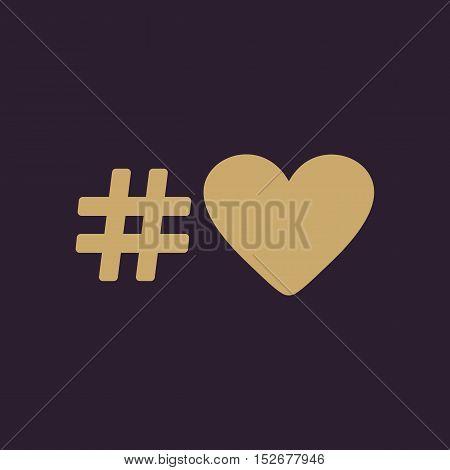The hash love icon. Hashtag heart symbol. Flat Vector illustration