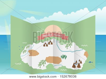 Guide of travel Paradise Island ; Vector illustration