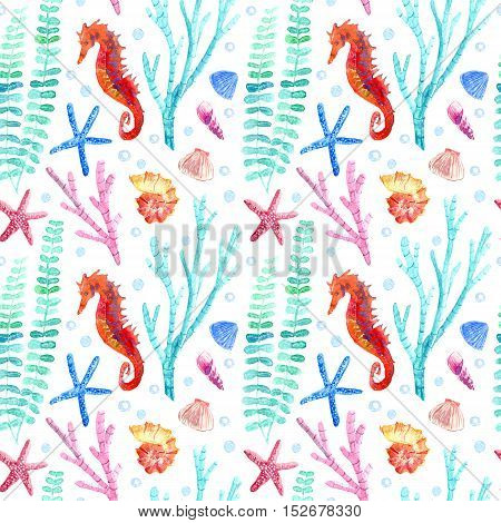 Seahorse, shell, starfish, seaweed, coral and bubbles seamless pattern.Underwater world image on a white background.Watercolor hand drawn illustration.