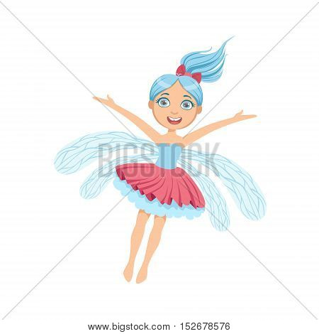 Cute Fairy With Blue Hair Girly Cartoon Character.Childish Design Fairy-tale Creature Simple Adorable Illustration.