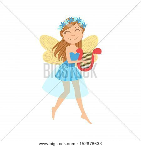 Cute Fairy With Lira Girly Cartoon Character.Childish Design Fairy-tale Creature Simple Adorable Illustration.