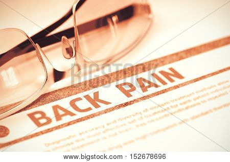 Back Pain - Printed Diagnosis on Red Background and Pair of Spectacles Lying on It. Medicine Concept. Blurred Image. 3D Rendering.