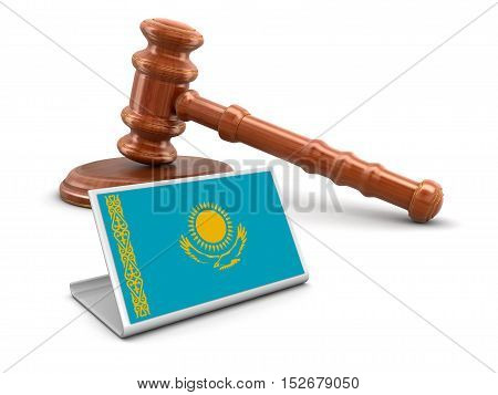 3D Illustration. 3d wooden mallet and Kazakh flag. Image with clipping path