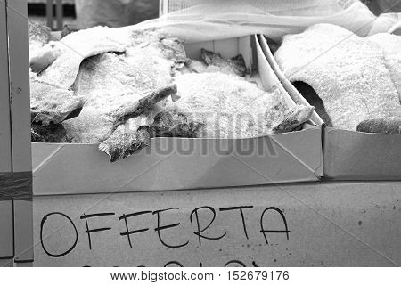 A lot of stock fish at market in italy