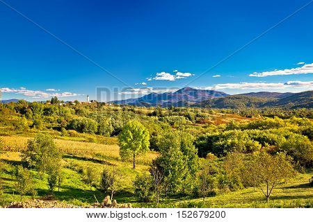 Drezbik Grad near Plitvice green landscape Karlovacka region of Croatia