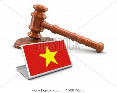 3D Illustration. 3d wooden mallet and Vietnamese flag. Image with clipping path